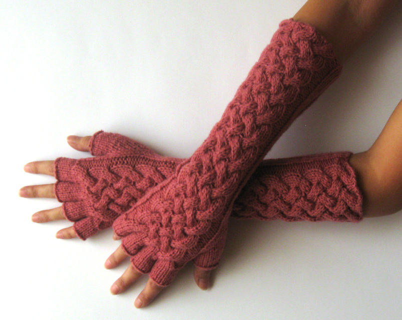 Knit Pattern for Double Cable Gloves with half fingers - P0025