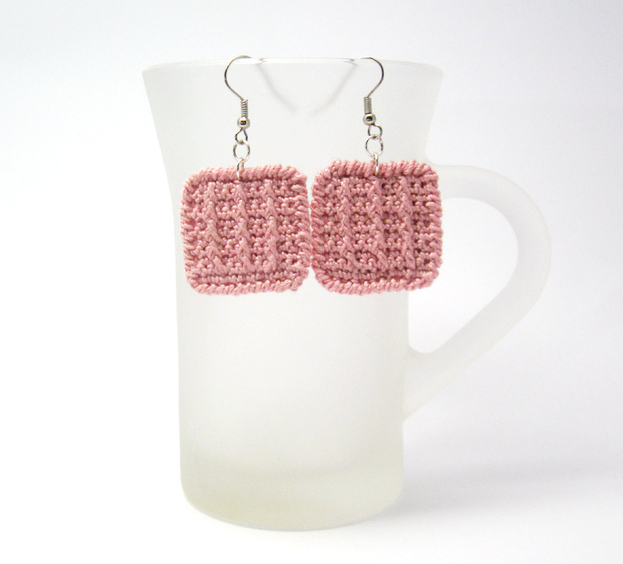 Crochet Earrings : ... > Crochet Jewelry > Crochet Pattern for Square Earrings - P0020