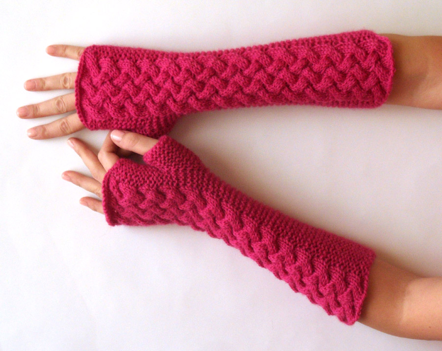 Knit Pattern for Double Cable Fingerless Gloves - P0007