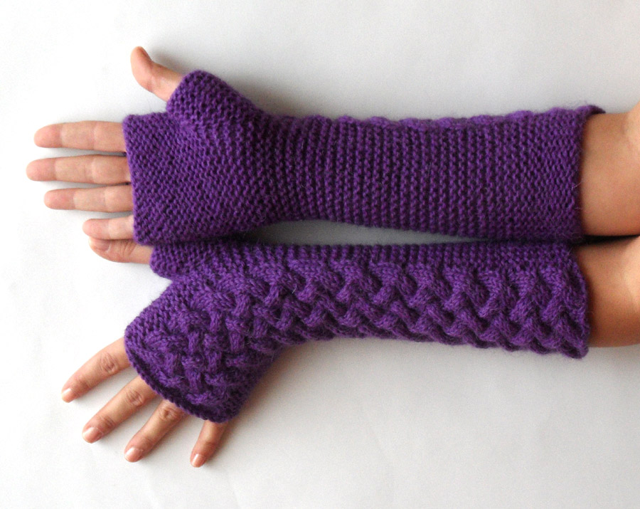 Knit Fingerless Gloves Pattern : Knit Pattern for Double Cable Fingerless Gloves - P0007