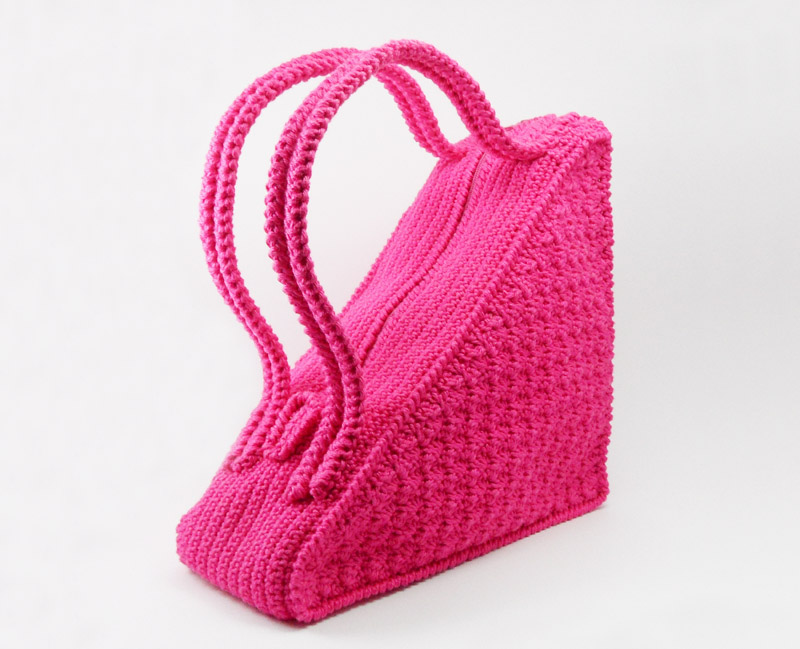 Crochet Bag Handles : Crochet Pattern for Triangle Bag with flat handles - P0001